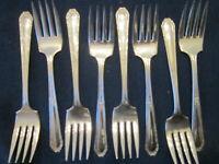Lot of 8 Monroe Silver Company Diana Salad Forks Silverplate Flatware SHIPS FREE