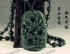 Wonderful Natural Green HeTian Jade Carved Dragon Lucky Pendants free Necklace