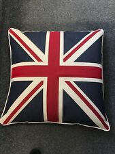 Hand Made Union Jack Flag Large Square Cushion Piped