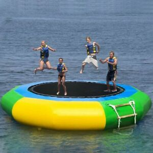 Inflatable Water Trampoline 10Ft Floating Island Lake Raft Bouncer with Ladder
