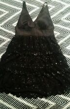Genuine GUESS Black Evening Lace Sequin Tiered Scollaped V Neck Dress Size 9 B46