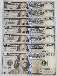 7 Consecutive Series 2009A BC BK $100 Bills **Mint Condition**hard To Find