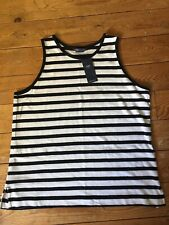 M&S BLACK & WHITE STRIPED COTTON RICH SLEEVELESS TOP SIZE 16  BNWT