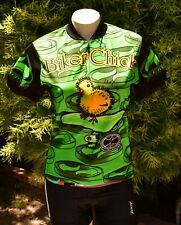 WORLD JERSEYS BIKER CHICK US WOMEN'S SZ M GREEN CYCLING SS PRECARYOUS LOGO