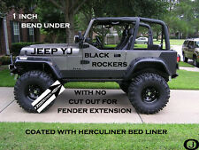 JEEP YJ black DIAMOND PLATE SIDE ROCKER PANEL with no cut outs & 1 inch bend