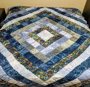 VELVET Blue Quilt Patchwork Bohemian King Size Huge Beautiful Flowers Vintage