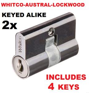 2 x Screen door security door lock key cylinder Barrel  Whitco Lockwood Austral