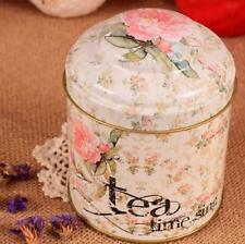 Retro Sealed Flower Kitchen Tea Time Coffee Tea Sugar Container Jar Tin Metal