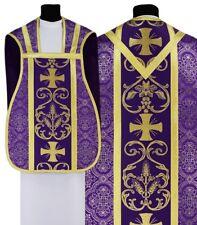 Pianeta Viola con stola R027-F14 Casula Romana Paramento liturgico VARI COLORI