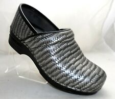 DANSKO Womens SIZE US 6.5 - 7, EU 37 GRAY / BLACK Leather Woven Stapled Clogs