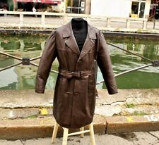 f9dc81fad7c48b Trench cappotto in pelle marrone vintage anni 70 80 monopetto uomo taglia XL