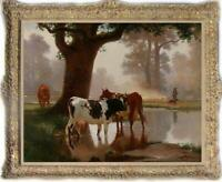 """Old Master-Art Antique Oil Painting animal Portrait cow on canvas 30x40"""""""