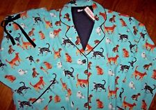 NWT PJ Salvage MINT Blue Flannel Pajama/Lounge Set SMART CATS WEARING GLASSES! L