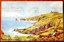 The Lower Point and Lighthouse, Cornwall. Post Card