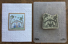 Stampin Up retired NATIVITY clear Stamp & New CHRISTMAS QUILT Embossing folder