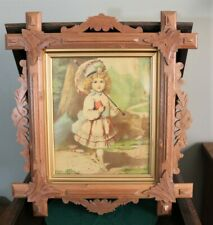 Antique 1878 Geo. Stinson & Co. Victorian Girl Lithograph Beautiful Walnut Frame