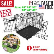 "Pet Cat Dog Folding Steel Crate Playpen Wire Metal Cage 18""/24""/30""/36""/42""/48"""