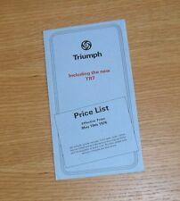 Triumph Price List 1976 - Stag Spitfire TR7 TR6 2500 S 2000 TC Dolomite Sprint