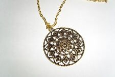 Mandala Kette 60 cm Gold Altgold Antikgold großer Kettenanhänger Boho Amulett