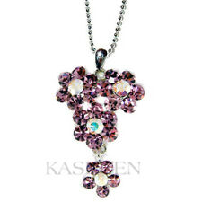 06036e05e3 Purple Flower~ made with Swarovski Crystal Floral Family Friends Charm  Necklace