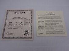 """Danbury Mint BROCHURE 1948 Tucker Prototype """"Tin Goose"""" Certificate of Title"""