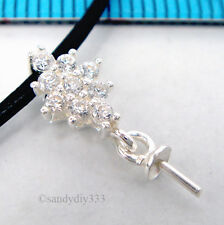 1x BRIGHT STERLING SILVER CZ PEARL 3mm CUP CAP BAIL PIN PENDANT CONNECTOR #2000