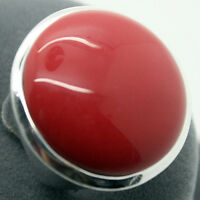 Fashion 24mm Red Coral Gemstone 925 Sterling Silver Jewelry Ring Size 7/8/9/10