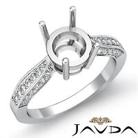 Solitaire Style Diamond Engagement Ring 14k White Gold Round Semi Mount 0.40Ct