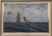 Marine Painter Leopold Schönchen - Sailing Ships on the Sea - 36 3/16X51 5/8in