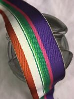 "5 yard 1 1/2"" wide vintage roll grosgrain striped purple green white ribbon hat"