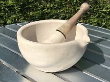 Size 6 English Antique Stoneware Pestle & Mortar From Old Pharmacy Chemist Shop