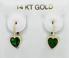 EMERALDS 1.48 Cts DANGLING EARRINGS 14K YELLOW GOLD * Lever Backs