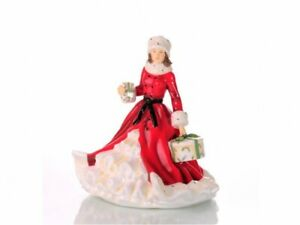 THE ENGLISH LADIES CHRISTMAS FIGURINE / DOLL ALL WRAPPED UP RED NEW AND BOXED
