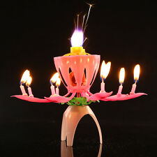 Rotating Music Blossom Flower Candle Birthday Party Cake Topper Decoration Tool