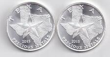 2- 2015 Silver Texas Rounds. 1-Troy oz. .9999 Silver Each.