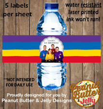 Personalised Wiggles Birthday WATER BOTTLE Sticker Labels - 5 Per Page
