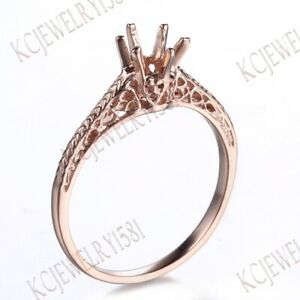 4-5mm Round Cut Semi Mount Solid 10K Rose Gold Engagement Wedding Ring Setting