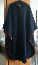 Laura Ashley Vintage Pure New Wool Navy Burgundy Hooded Cape Size Medium/Large