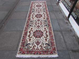 Fine Traditional Hand Made Vintage Wool Silk Cream Pink Carpet Runner 312x87cm