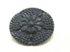 "Victorian Black Glass Sewing Button, Floral Pattern, 1-1/8"", Shank"
