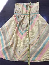 Strapless Rainbow Yellow Stripe Tube A Line Flare  Dress