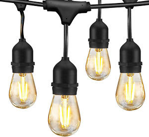 LED Outdoor String Lights 48FT with 2W Dimmable Edison Vintage Shatterproof Bulb