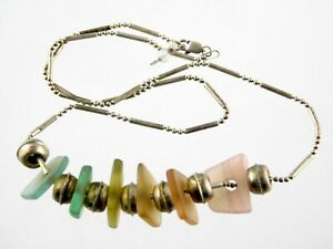 Artisan Sterling Silver and Sea Glass Beaded Necklace 925 Gradient Rainbow Color