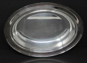 """Vintage Leonard Silverplated Serving Platter Silver Plated Tray 11.5"""" Long Oval"""