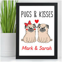 Personalised Pug Dog Couples Gifts for Her Him Girlfriend Boyfriend Anniversary