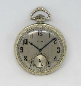 1927 Elgin Open Face Pocket Watch, Dueber 14K GF Case, Running Well, Grade 303