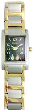 Ladies Black Hills Gold Watch12K Gold Leaves Stainless Steel Band Square Face