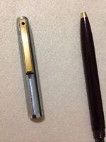 VINTAGE SHEAFFER REMINDER CLIP MAROON/STEEL GOLD TRIM BALLPOINT PEN-USA-BLUE INK