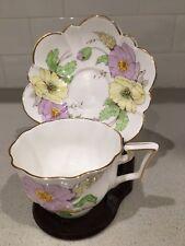 Vintage Cornpoppy Salisbury Bone China England TEACUP SAUCER Floral
