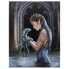 DRAGON & PRINCESS 'WATER DRAGON' CANVAS MYTHICAL PLAQUE BY ANNE STOKES WALL ART